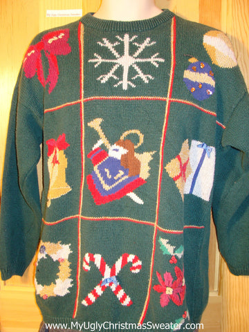80s Style Tacky Ugly Christmas Sweater with Bow, Snowflake, Ornaments, Bell, Angel, Gifts, Wreath, Candycanes, and Poinsettias (f754)