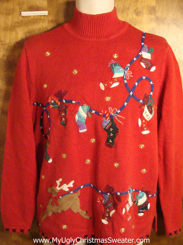 Reindeer and Stockings Tacky Christmas Sweater