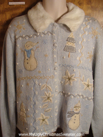 Snowy Snowman Tacky Christmas Sweater