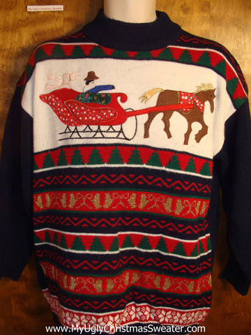 Sleigh Ride Tacky Christmas Sweater