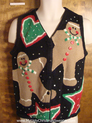 Gingerbread Men and Cookies Tacky Christmas Sweater Vest