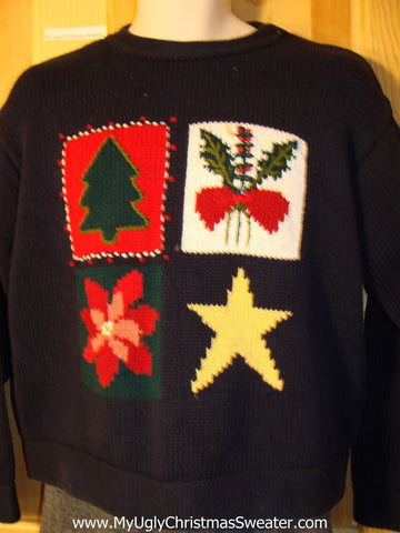 Bold Tacky Ugly Christmas Sweater with Tree, Ivy, Poinsettia, and Star (f755)