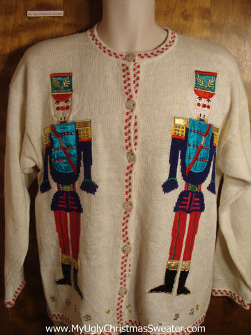 Twin Nutcrackers Tacky Christmas Sweater
