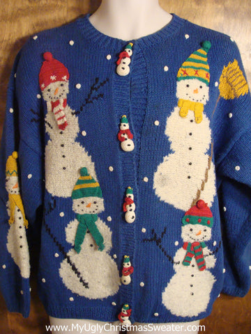 Colorful Snowmen Tacky Christmas Sweater