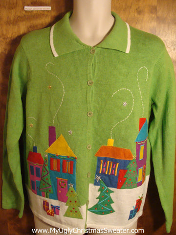 Bright Green Tacky Christmas Sweater