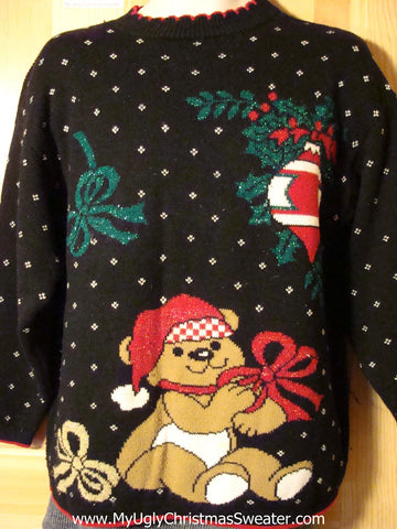 Tacky 80s Style Ugly Christmas Sweater with Giant Festive Bear in a Winter Wonderland (f756)