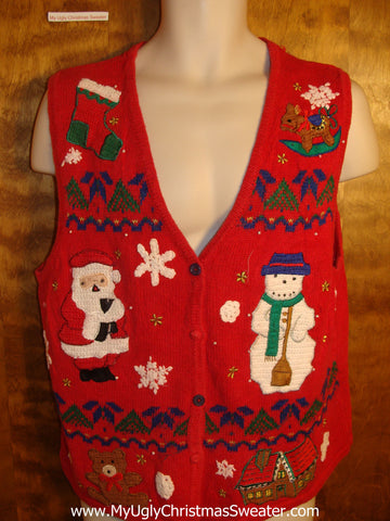 Santa and Snowman Friends Tacky Christmas Sweater Vest