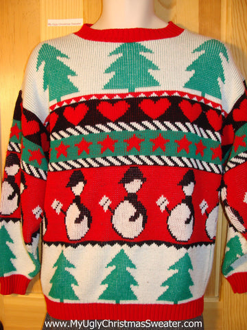 Tacky 80s Classic Two-Sided Ugly Christmas Sweater with Penguins, Hearts, and Trees (f757)