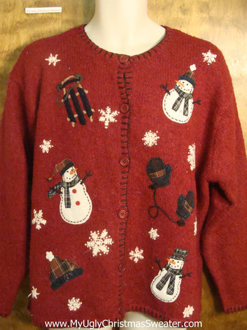 Sledding Snowmen Tacky Christmas Sweater