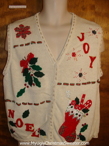Joy and Noel Tacky Christmas Sweater Vest