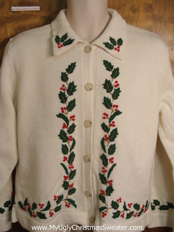 Holly Boughs Tacky Christmas Sweater
