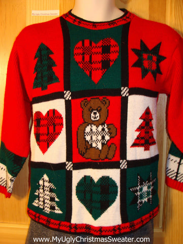 Tacky 80s Classic Plaid Themed Ugly Christmas Sweater with Hearts, Trees, Snowflake, and Bear (f758)