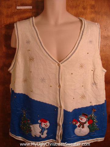 Snowman and Cat Friend Tacky Christmas Sweater Vest