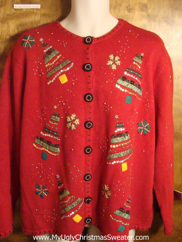 Bling Striped Trees Tacky Christmas Sweater