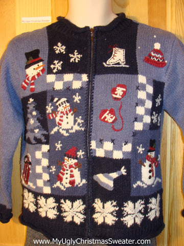 Tacky Ugly Christmas Sweater with Snowflakes, Snowman, Mittens, and Skates (f759)