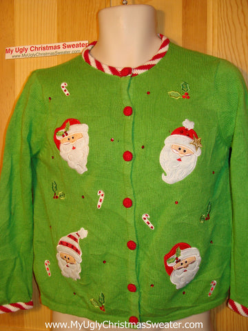 Tacky Ugly Christmas Sweater Green with Santa and Candy Cane Stripes (f75)