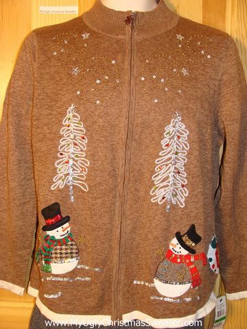 Tacky Brown Ugly Christmas Sweater with Two Top Hat Snowmen with Carrot Noses (f760)