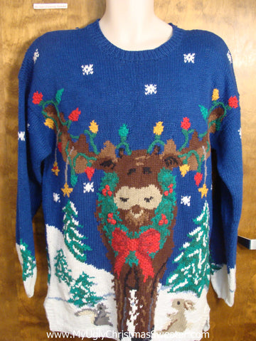 Best Ever Reindeer with Wreath Christmas Sweater
