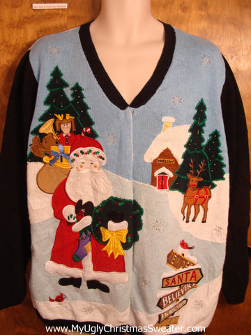 Crazy 2sided Christmas Sweater Angel Santa
