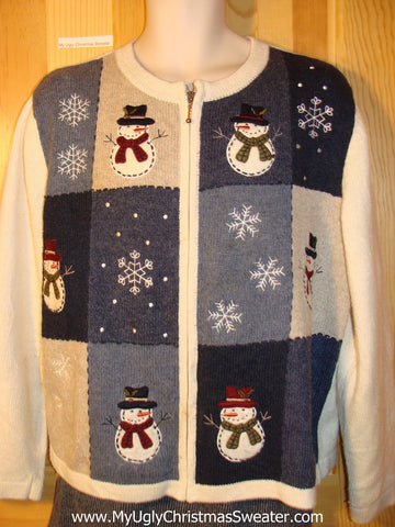 Tacky Ugly Christmas Sweater with Stick Armed Carrot Nosed Snowmen (f761)