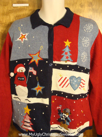 Patriotic Fun Christmas Sweater