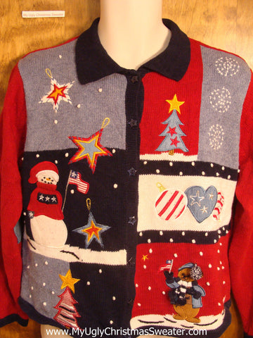 Patriotic Red White and Blue Christmas Sweater
