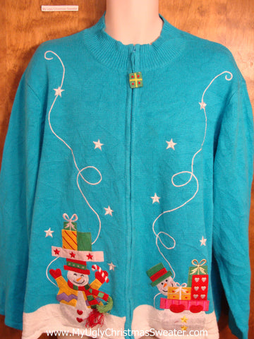 Plus Size Blue Fun Christmas Sweater