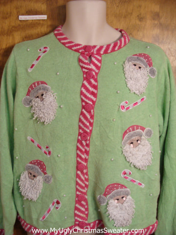 Pink and Green 80s Christmas Sweater