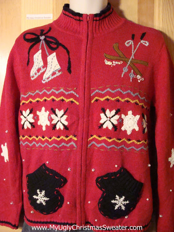 Tacky Ugly Christmas Sweater with Skates, Skis, Mittens, and Snowflakes (f762)