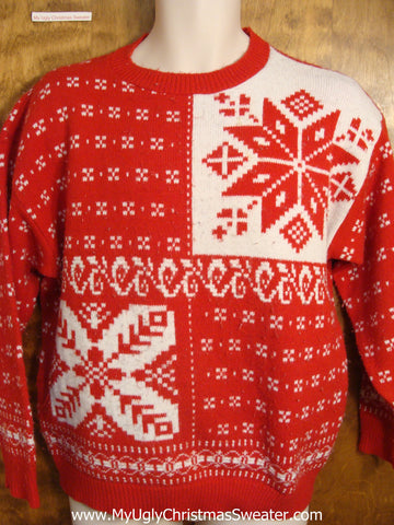Vintage Red and White Nordic Christmas Sweater