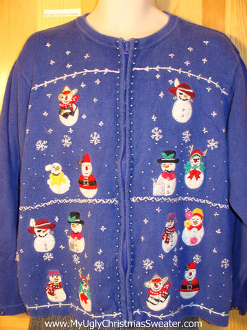 Tacky Ugly Christmas Sweater with Snowman Party and Snowflakes (f763)