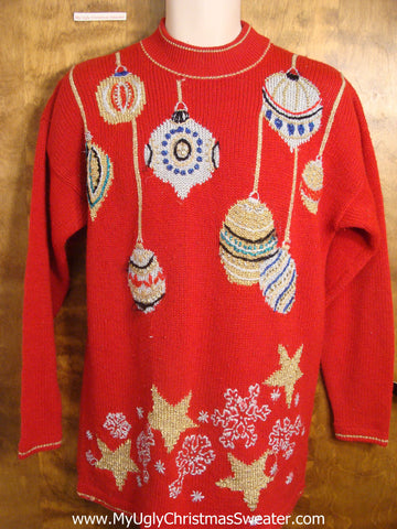 80s Glam Red Christmas Sweater