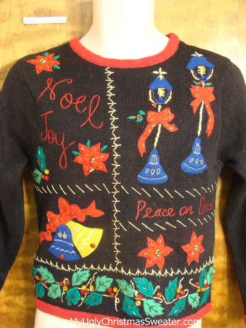 Child Christmas Sweater with Poinsettias