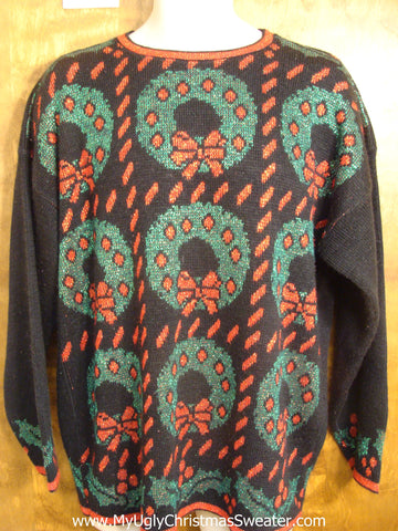 Plus Size 80s Wreaths Christmas Sweater