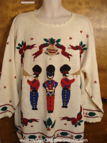 Plus Size Christmas Sweater with Nutcrackers
