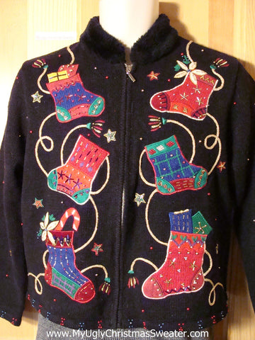 Tacky Ugly Christmas Sweater with Colorful Super Sized Stockings (f764)
