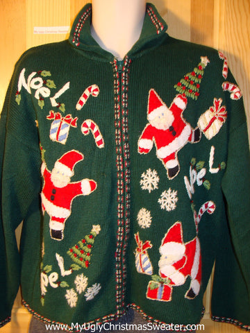 Tacky Green Ugly Christmas Sweater with Leaping Santas and Candy Canes (f765)
