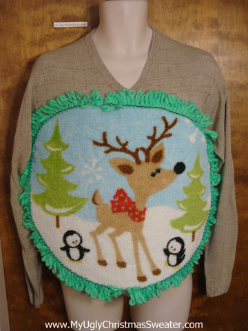 Mens Fluffy Reindeer Vneck Sweater