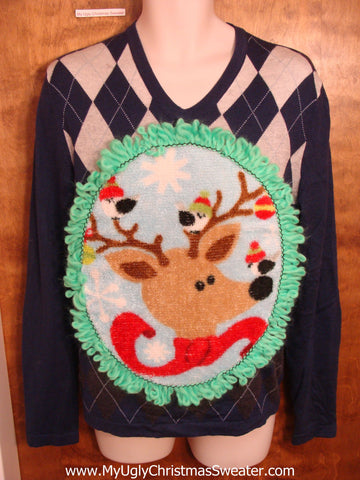 Mens Argyle Reindeer Sweater