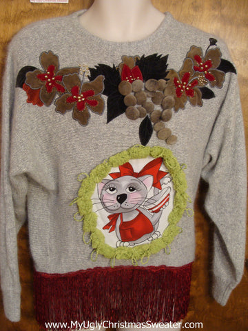 Horrible 80s Cat Sweater with Fringe