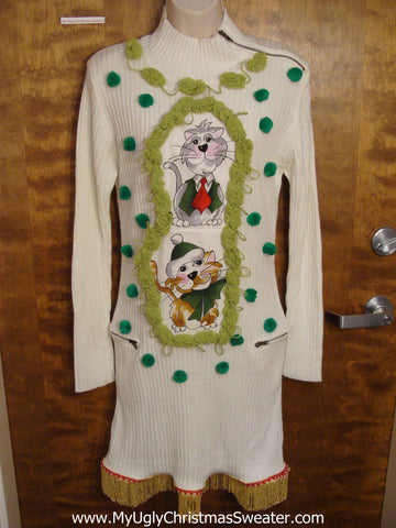 Ivory Christmas Sweater Dress with Cats