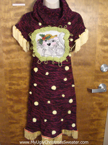 Cat Lovers Burgandy Christmas Sweater Dress