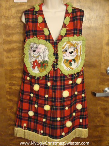 Red Plaid Christmas Dress with Cats