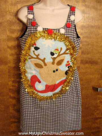 Checkerboard Christmas Dress with Reindeer
