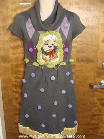 Grey and Purple Christmas Dress with Cat
