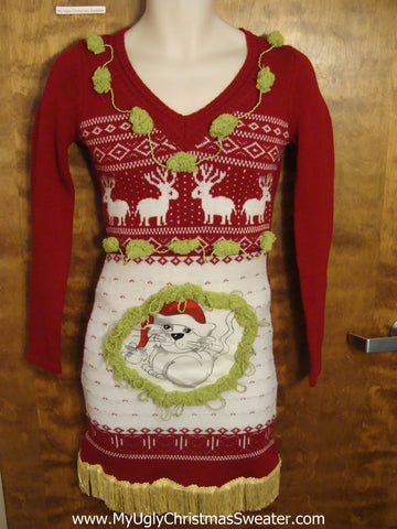 Red Vneck Christmas Dress with Cat