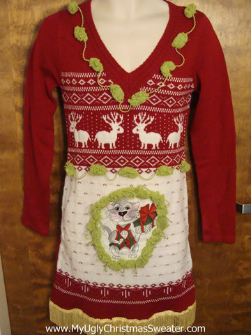 Red and White Cat and Reindeer Christmas Dress