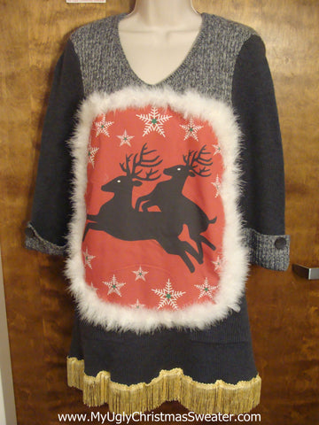 Naughty Reindeer Christmas Dress with Scarf
