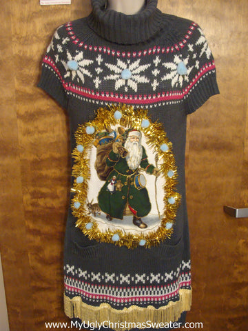 Grey Nordic Christmas Dress with Vintage Santa