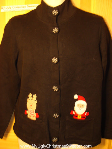 Tacky Ugly Christmas Sweater Santa and Reindeer and Snowflake Buttons (f76)